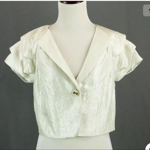 The Limited New ivory shiny one button blazer S